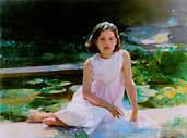 young girl oil portrait by Cedric Egeli